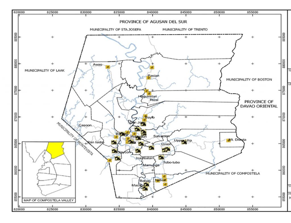 Housing and resettlement areas in the municipality of Monkayo.