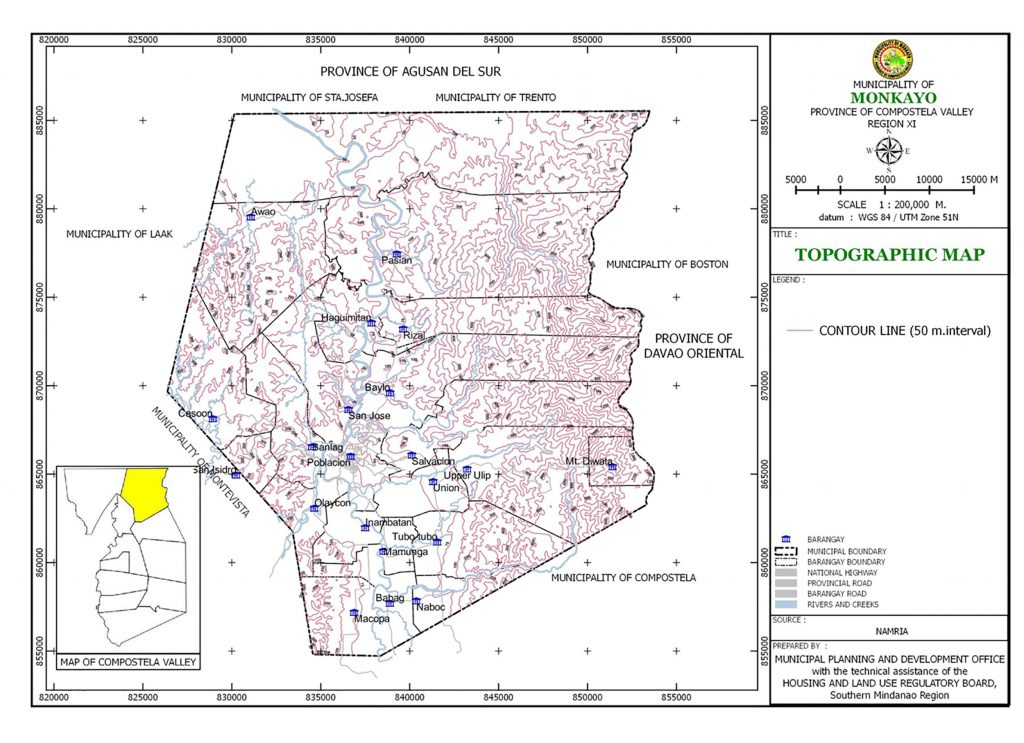 Topographic map of the municipality of Monkayo.